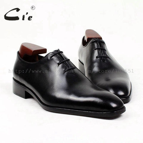 cie square toe whole cut bespoke men leather shoe custom handmade men's dress oxford 100% full calf leather breathable OX401
