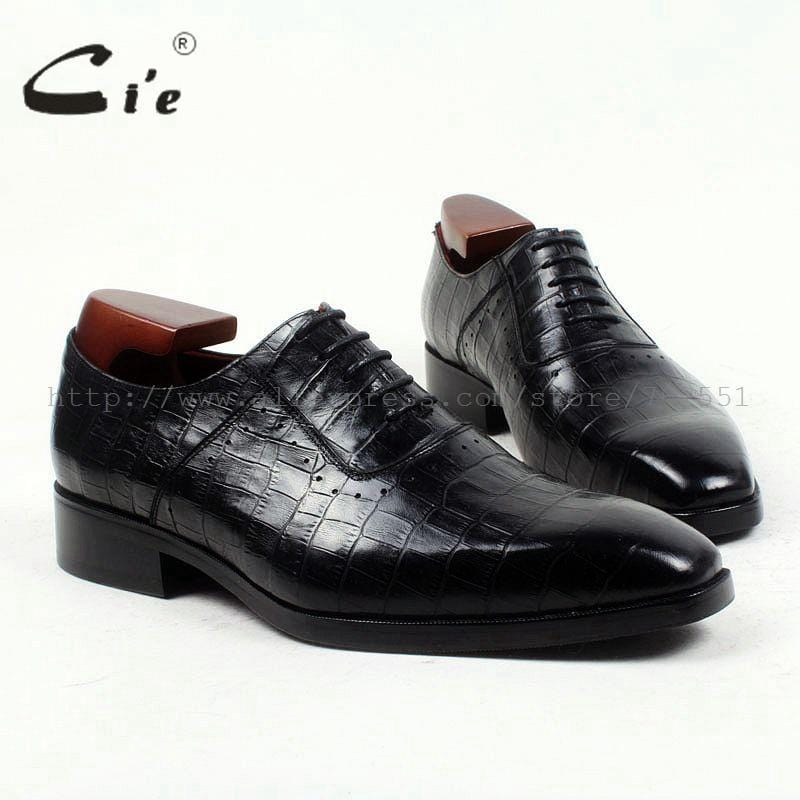 cie square toe 100%genuine calf leather embossed crocodile bespoke leather men shoe handmade men shoe oxford lacing flats OX419