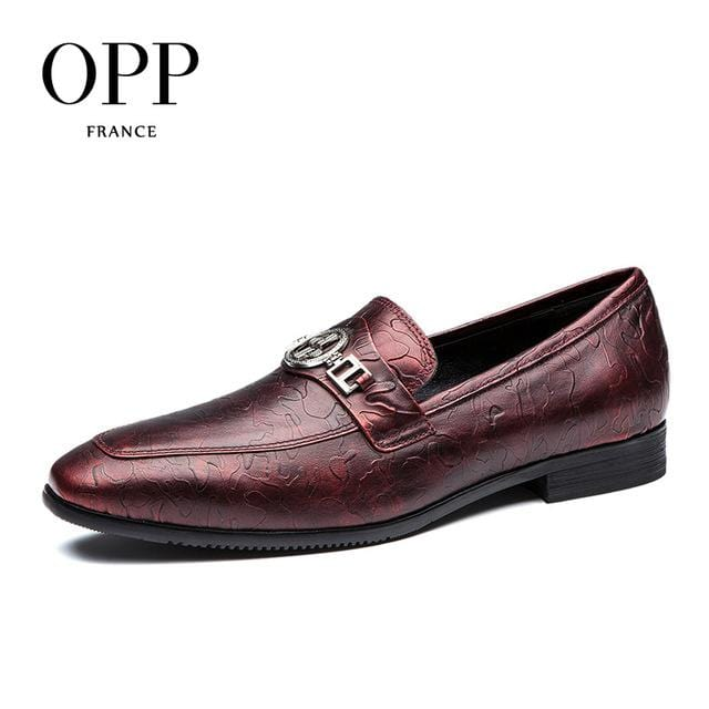 OPP Men's Natural Cow Leather Dress Shoes  Fashion Style,Breathable Dress Shoes With Buckle Blue/Wine Oxfords zapatillas hombre