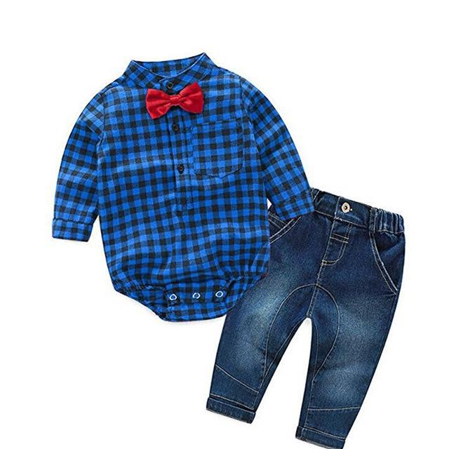 Newborn Rompers +jeans 2pcs Baby boy Newborn baby clothes full Sleeve Baby boy Clothes christmas 0-24 month birthday custumes - EM