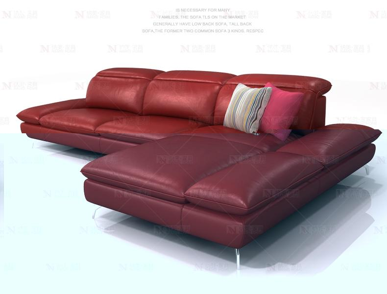 cow genuine leather sofa sectional living room sofa corner home furniture couch L shape functional backrest and armrest modern - EM