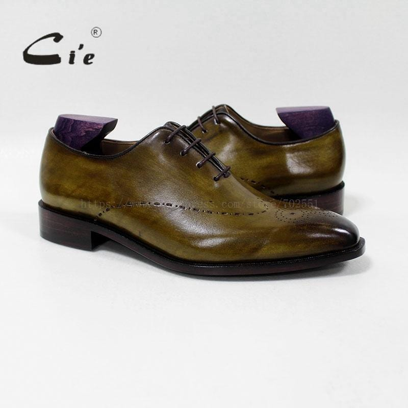 cie square toe whole cut medallion lace-up oxford 100%genuine calf leather men shoe bespoke leather shoe handmade flats OX-00-08