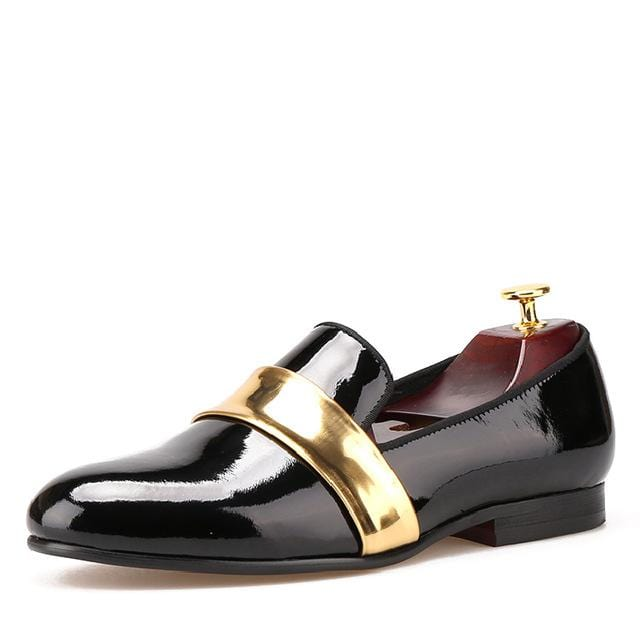 The new men loafers handmade shoes patent leather black and gold design men shoes, men's fashion for weddings and party flats