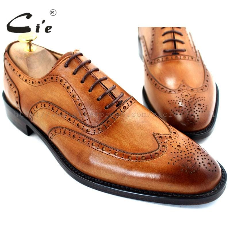 ADHESIVE CRAFT custom handmade genuine calf leather upper inner outsole dress classic men's oxford shoe color brown No.OX208