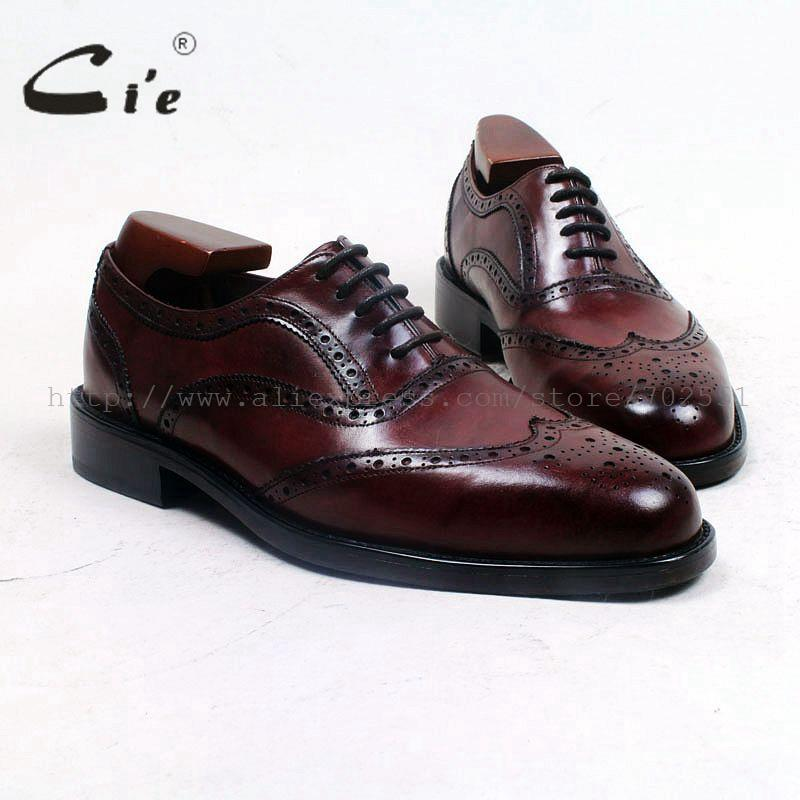 cie Round Toe Bespoke Custom Handmade Calf Genuine Leather Outsole Breathable Work &Career Men's Shoe Oxfords Deep Wine OX508