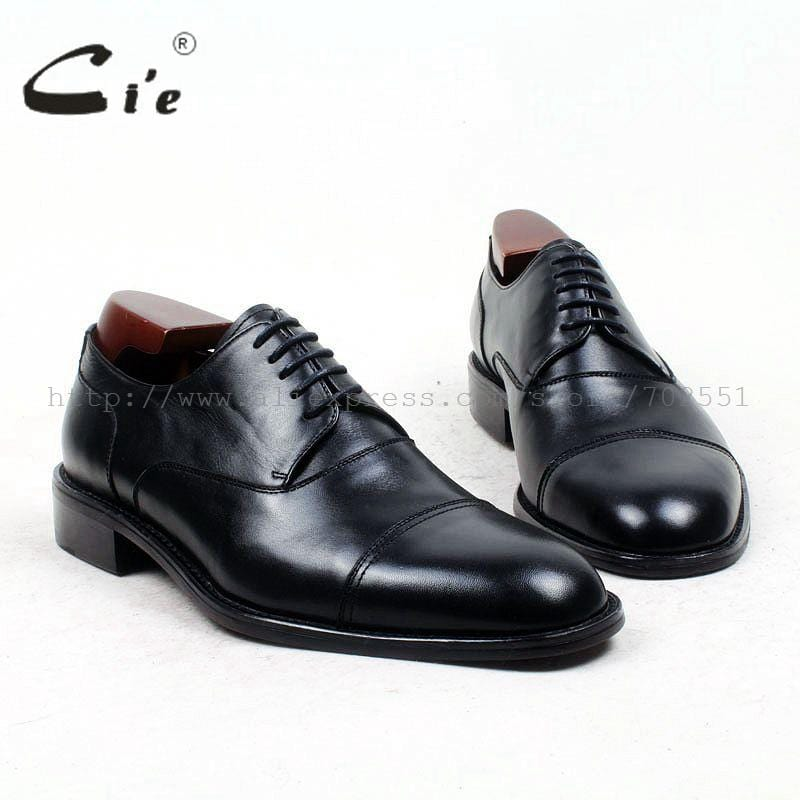 cie Free Shipping Bespoke Custom Handmade U-tip Genuine Calf Leather with Genuine Leather Outsole Derby Color Brown Shoe No.D27