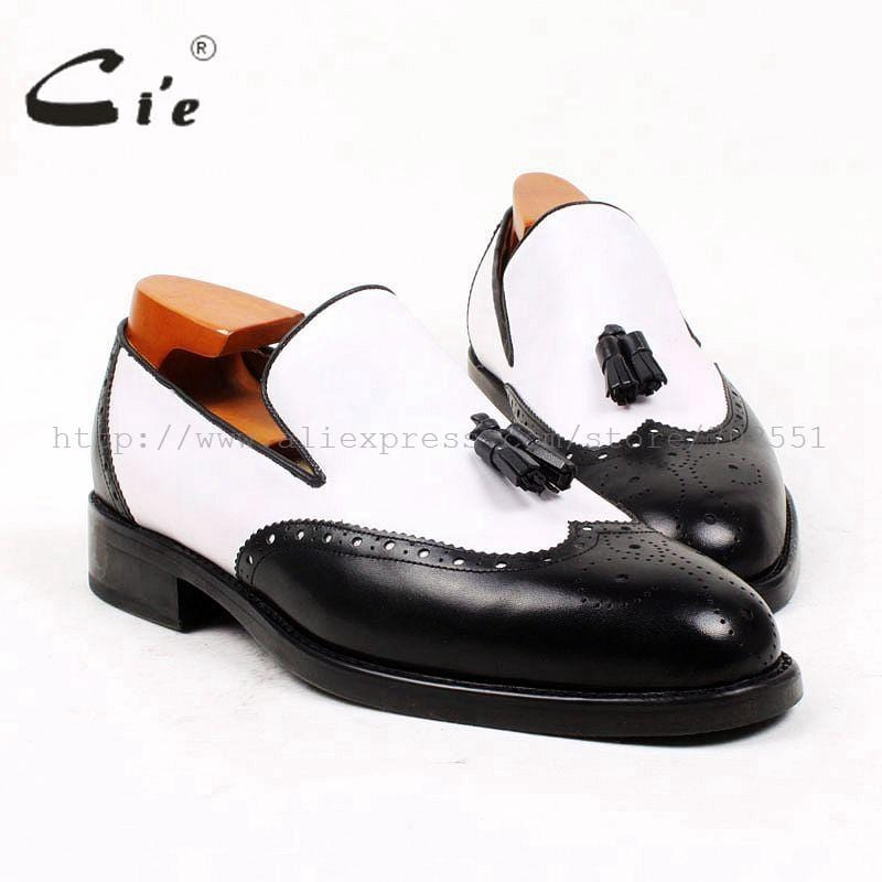cie Round Toe Black White Tassels Slip-on 100%Genuine Calf Leather Outsole Breathable Bespoke Leather Men Shoe Handmade loafer69