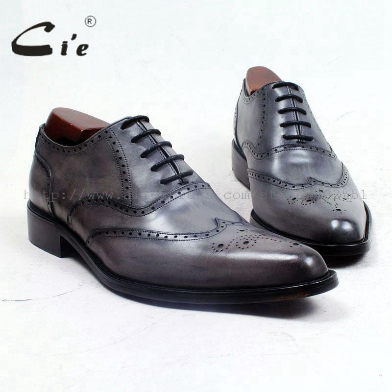 cie pointed toe full brogues medallion oxford patina grey 100%genuine calf leather oustole breathable bespoke men shoe ox505