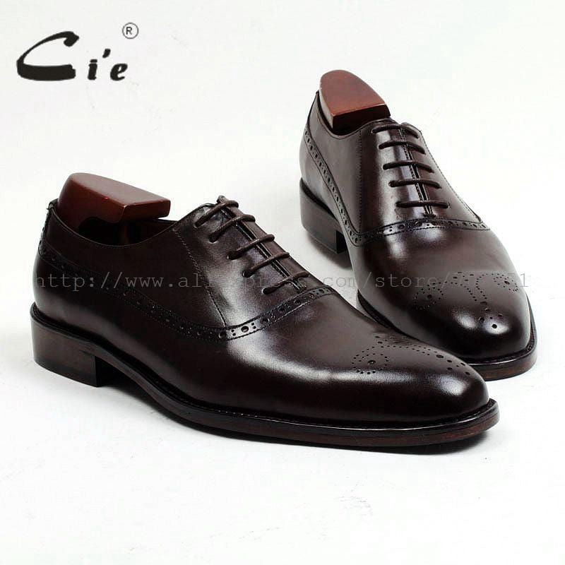cie Free shipping custom narrow handmade genuine calf leather outsole work men's dress oxford color coffee brown shoe No.OX464