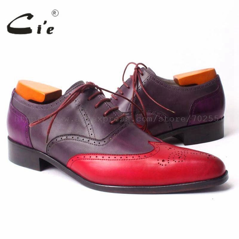 cie Pointed Wing-tips Full Brogues Lace-up Oxford Mixed Colors 100%Genuine Calf Leather Bottome Outsole Breathable Men ShoeOX302