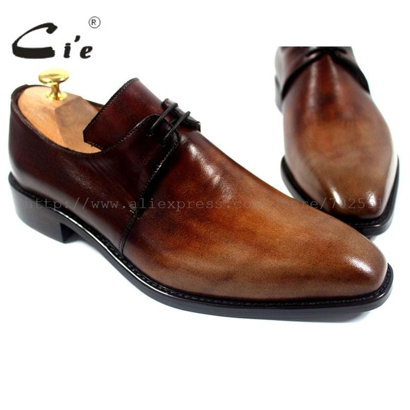 cie Free Shipping Handmade Genuine Calf Leather Men's Dress/Classic Derby Color Brown Patina Square Toe Italian shape Shoe NoD43