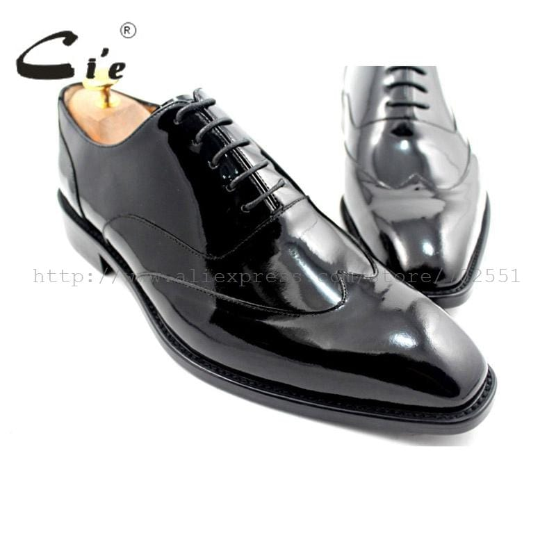 cie square toe wingtips bespoke men shoe custom handmade genuine calf leather outsole men oxford shoe black patent leatherOX184