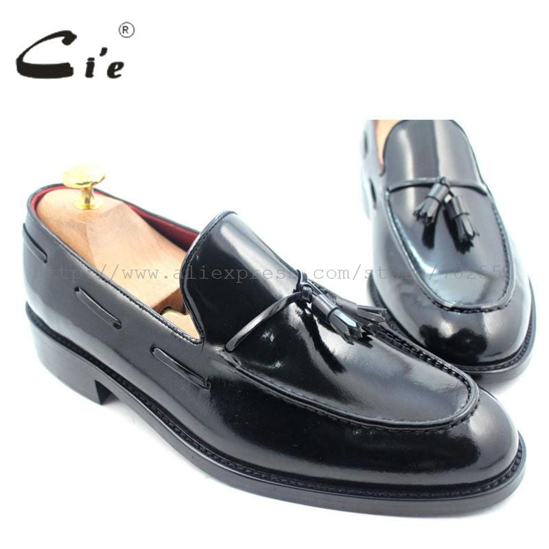 cie Free Shipping Custom Handmade Men's Black Patent Calfskin Leather Outsole Breathable Round Toe Tassel Slip-on No.Loafer 28