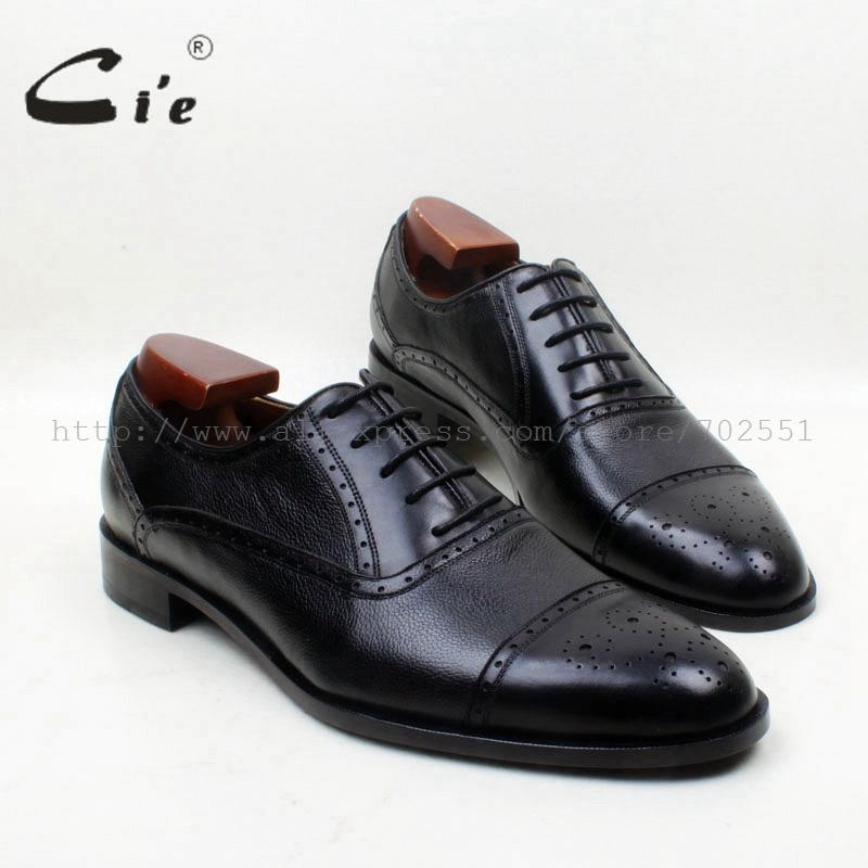 cie Round Plain Toe Solid Black Pepple Grain Mixed 100% Pure Genuine Calf Leather Outsole Breathable Men's Oxford Shoe No.OX684