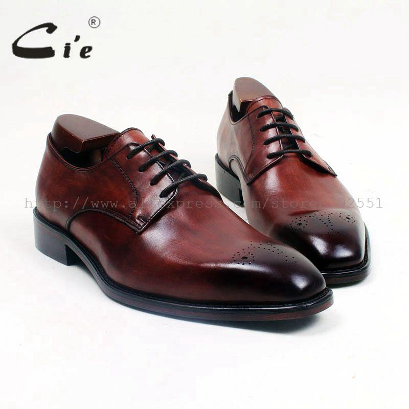 cie Square Toe Lace-Up Hand-Painted Brown Patina Handmade100%Genuine Calf Leather Outsole Breathable Derby Men Flats Shoe D164