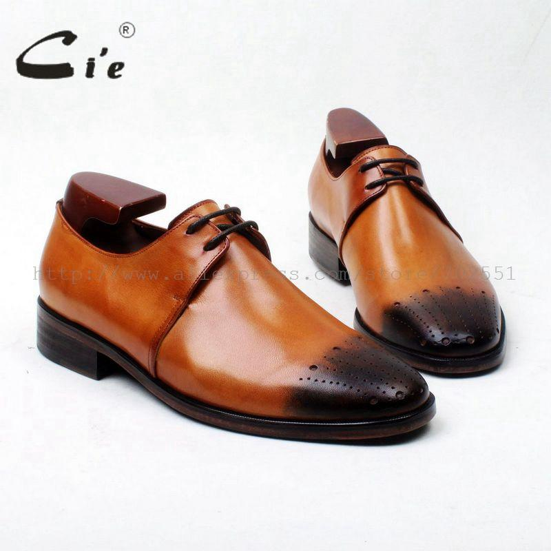 cie Free Shipping Bespoke Handmade Custom Hand-painted Brown Calf Leather Bottom Outsole Breatheable Men Derby Round shoe D192