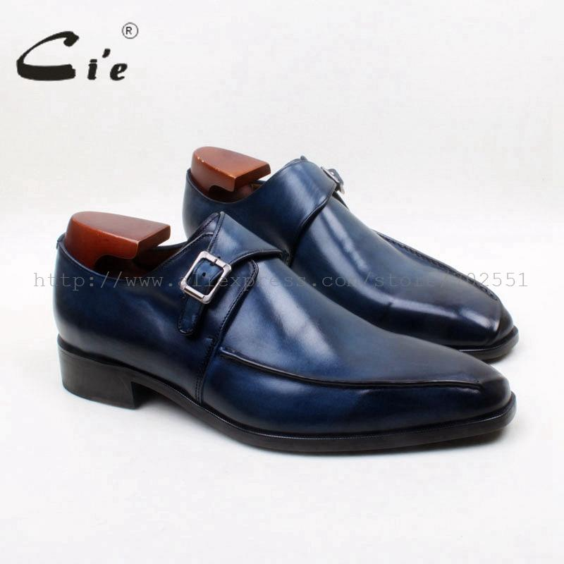 cie Square Toe Handmade Hand-Painted Patina Single Monk Straps 100%Genuine Calf Leather Breathable Bottom Outsole Men ShoeMS131