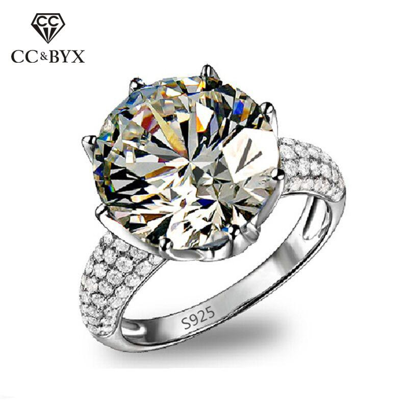 8 Carat Anillo White Gold Color Big Rings For Women AAA Zirconia Diamant Rings Bague Mariage Femme Engagement Ring CC064 - EM