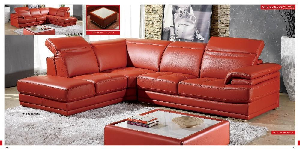 designer modern style top graded cow genuine leather sofa sectional corner living room home furniture shipping to port - EM