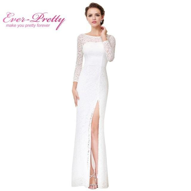 Robe De Soiree Blanche White Lace Evening Dresses 2017 Ever Pretty EP08883 Unique Side Slit Design Formal Long Evening Dresses