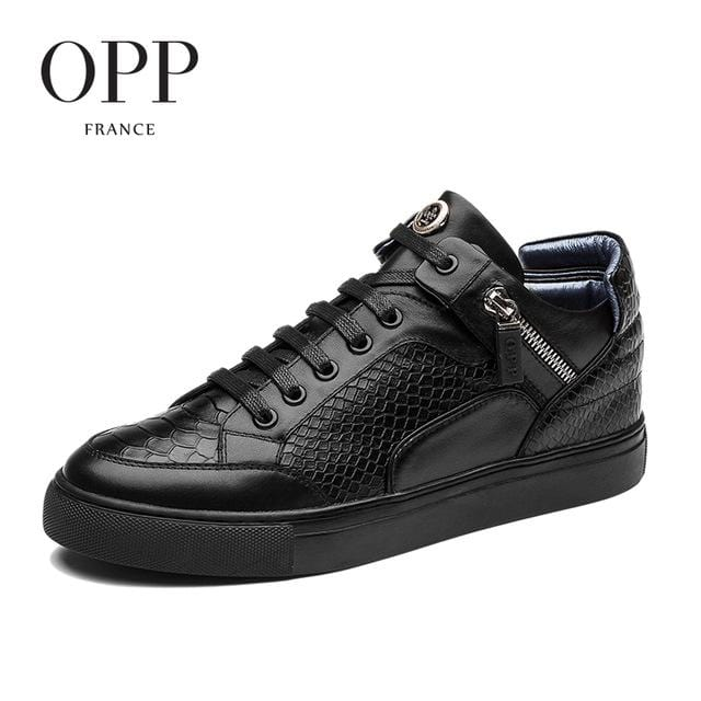OPP men boots 2017 Genuine Leather shoes Snake Skin Winter Boots men Full Grain Leather Shoes Ankle Boots for men high top shoes