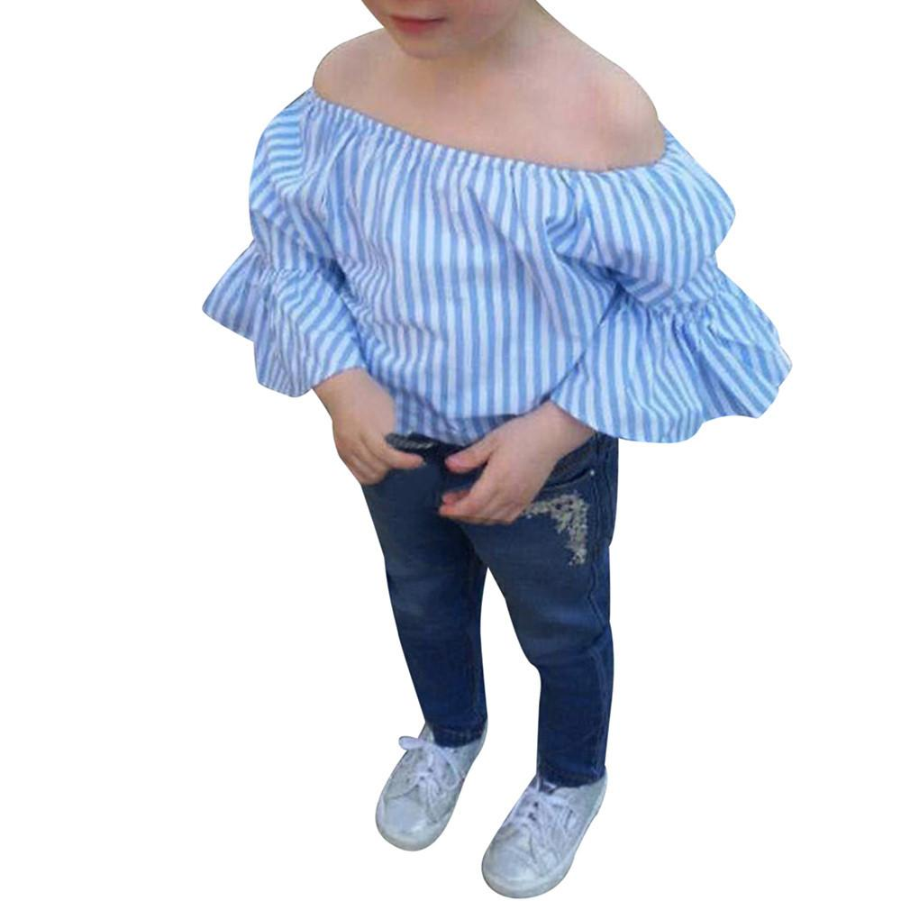 2 pieces set girls clothes set Toddler Baby Girl Off Shoulder Stripe T Shirt Top Jeans Pants Outfit Clothes Set Drop ship - EM