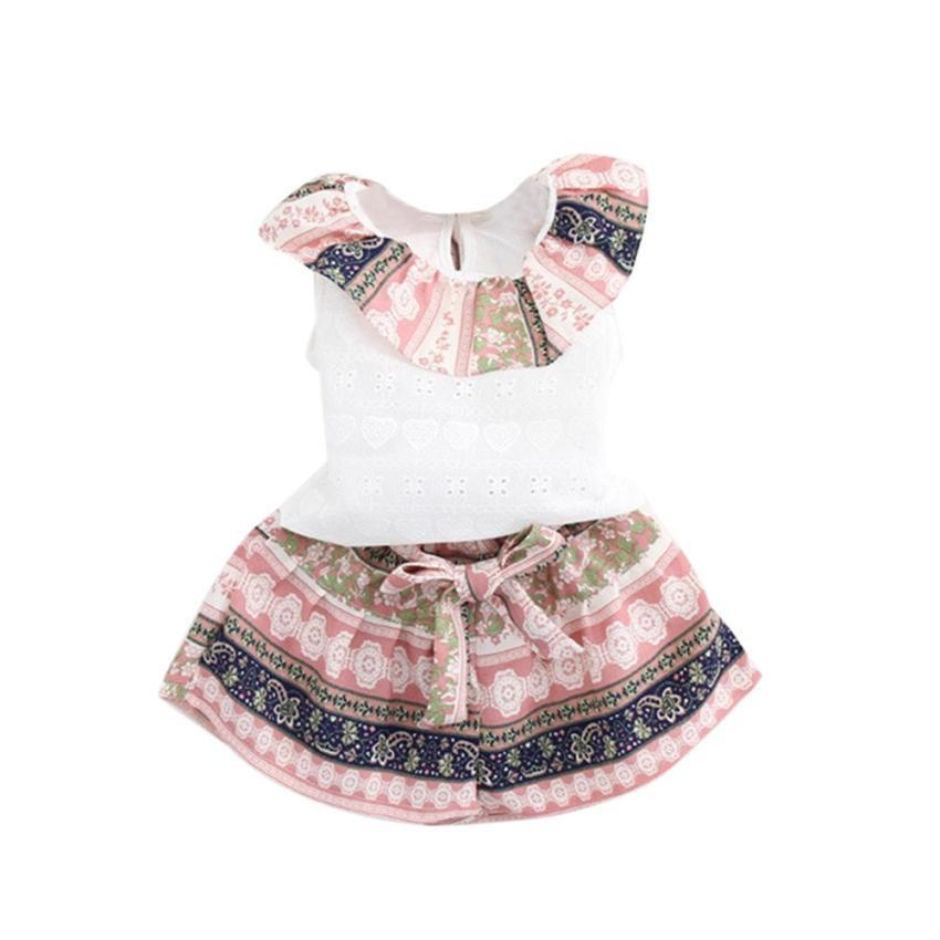 Kids Baby Girls Summer Outfit Clothes T-shirt Tops+Shorts Pants Set Lotus Leaf collar vest shorts  two piece set pink blue - EM