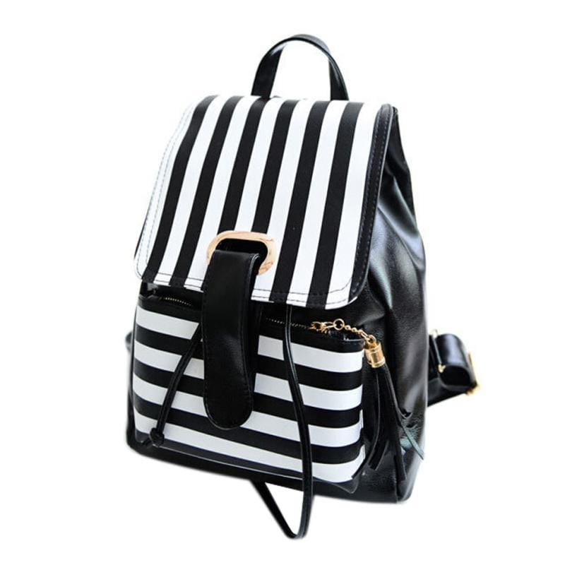 2016 Women Backpack Bags Rucksack Girls Leather School Bag Travel Satchel Tassels Stripe Womens Backpack mochila feminina #YW