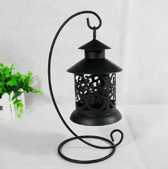 European Style Iron Hollow Candlestick Candle Holder Stand Light Lantern Decor Wedding Home Table Decoration Black White