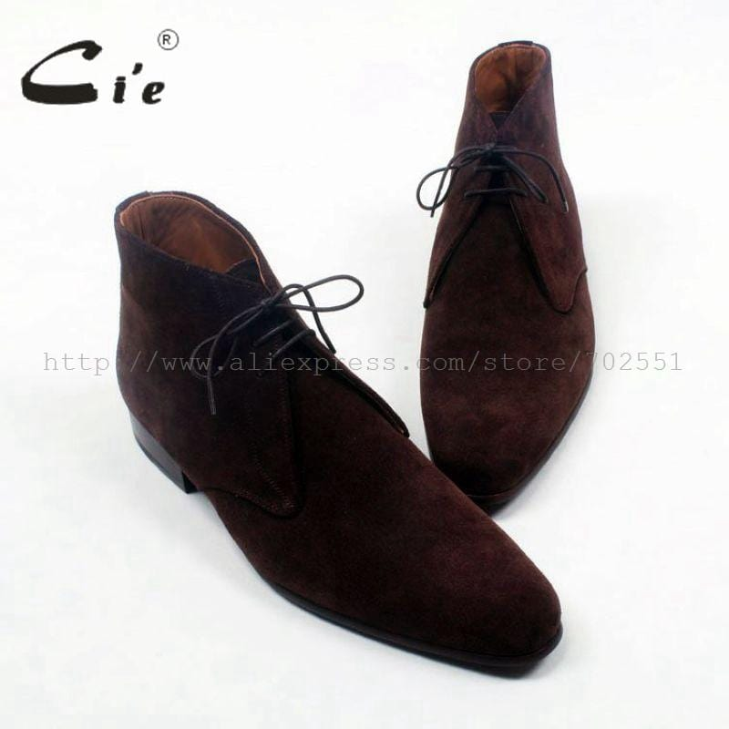 cie round plain toe coffee suede lace-up ankle boot calf leather men boot bespoke leather boot 100%genuine calf leather boot A83