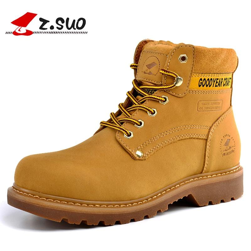 Z.Suo Men Boots Work Safety Shoes Genuine Leather Yellow Round Toe Luxury Goodyear Handmade Cow Leather Ankle Boots Men's Shoes