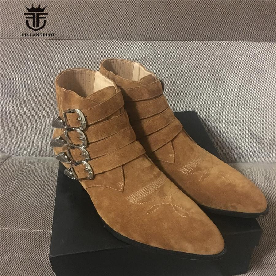 High End Handmade Buckle Strap Rivets Pointed Toe Personalized Harness Wyatte luxury Suede Men Boots Genuine Leather Denim Boots
