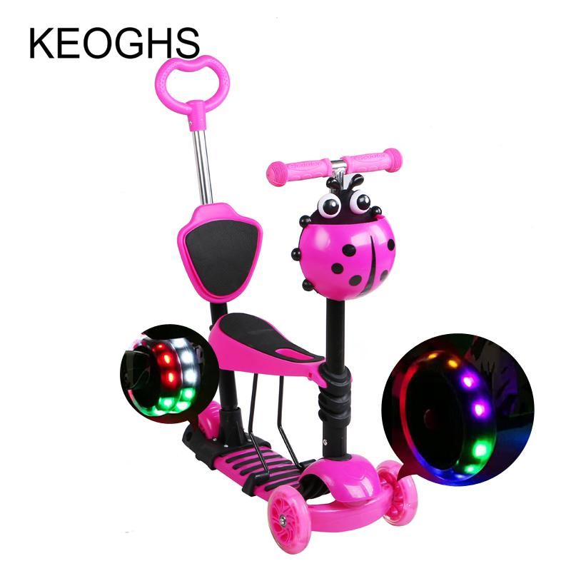 Children baby scooter kids 5in1 PU 3wheels Flashing Swing Car Lifting 2-15 Years Old Stroller Ride Bike Vehicle Outdoor Toys - EM