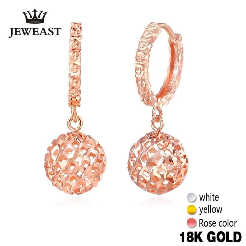 18k Gold Drop Earrings Women Ball Hollow Design Rose Fine Jewelry Classic Female Cute Dangle hot Earring Party Girl Gift New