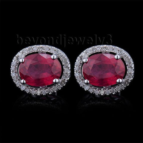 14Kt White Gold Diamond Earrings, Ruby Stud Earrings Fine Jewelry, Natural Ruby Earrings For Women E003