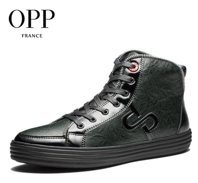 OPP High Top Men boots 2017 Genuine Leather Men Shoes Winter Boots men Zip Metal Style Shoes Ankle Boots for men
