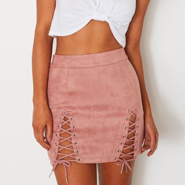 Autumn Winter Lace Up Leather Suede Pencil Skirt Bandage Sexy Elastic Short Skirt Split Bodycon Cross High Waist Skirts Womens