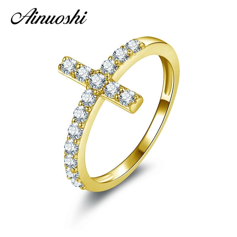 AINUOSHI 10k Solid Yellow Gold Women Wedding Ring Micro Pave SONA Simulated Diamond Cross Bague Bijoux Fashion Bithday Gift Ring - EM