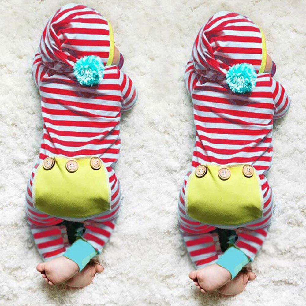 Stripe Baby Rompers Long Sleeve Baby Boy Clothing Children Rompers Autumn Cotton Infant Clothing Newborn Baby Girl Clothes 6-24M - EM