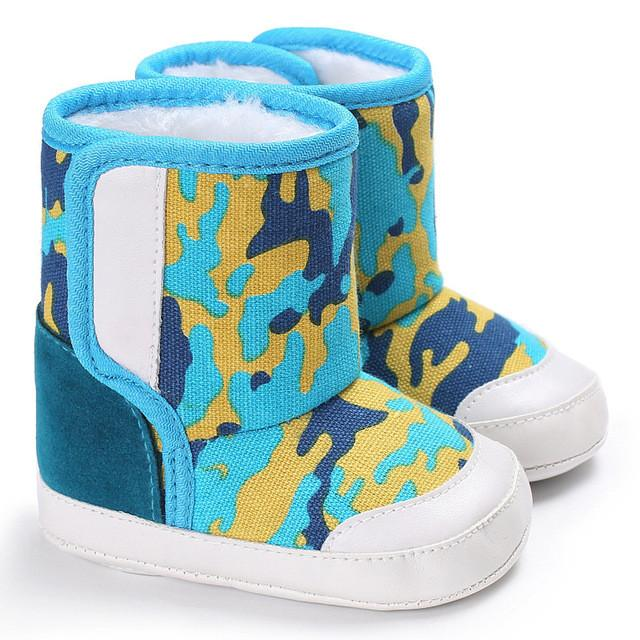 072c71373721c ... Baby girls boy winter boots camouflage Baby Soft Sole Snow Boots Soft  Crib Shoes Toddler Cotton ...