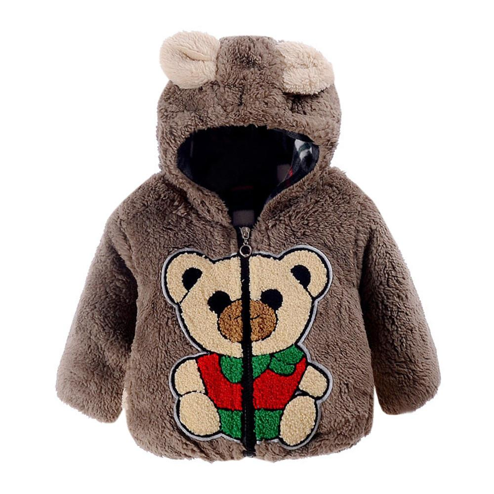 2017 Fashion infant girls Baby boys overcoat Bear Autumn Winter Hooded Cotton Kids Clothing Coat Cloak Jacket Thick Warm Clothes - EM