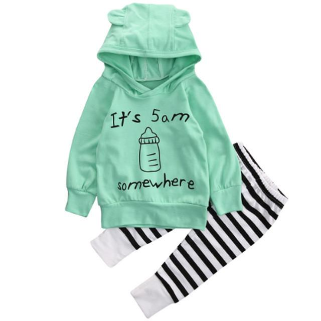 Baby Boys Girls Clothes Sets 2017 Spring Autumn Winter Fashion Baby Sweatshirt Long Sleeve Top+Long Pants Outfits Clothes 1Set - EM