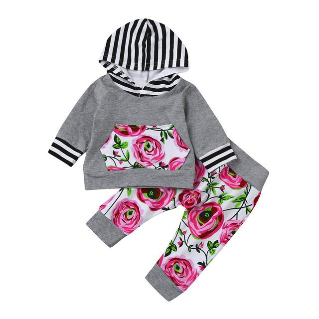 Kids Toddler Baby Girl Clothes Tops Hoodies Hooded Long Sleeve Sweatshirt Pants 2pcs Cute Girls Clothing Floral Outfits Set - EM