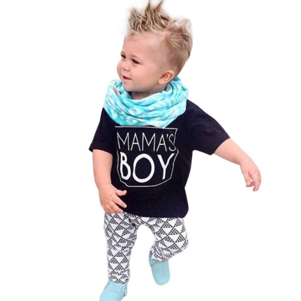 Toddler Boys Clothing Sets 2017 Summer New Letter MAMA'S BOY T Shirt+Pants 2pcs Boy Girl Clothing Set For Kids Baby Clothes - EM