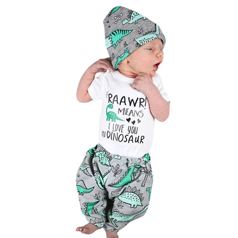 2017 Autumn Newborn Baby Boy Girl Clothes Short Sleeve Letter Print Romper Tops+Pant Hat Dinosaur Clothing Set 3PCS for 6-24M - EM