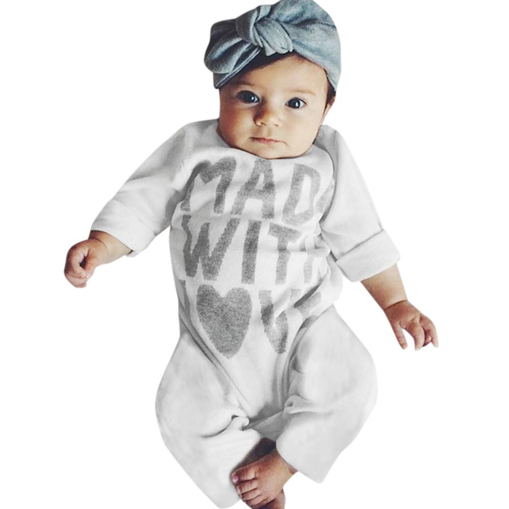2017 New Fashion Baby Romper Clothing Body Suit Newborn Long Sleeve Kids Boys Girls Letter Rompers Baby Clothes Roupa Infantil - EM