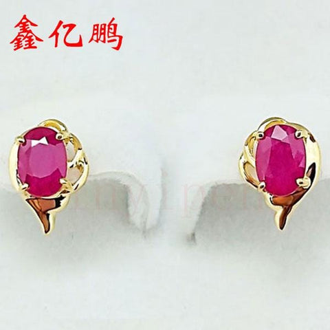 18 k gold natural ruby earring