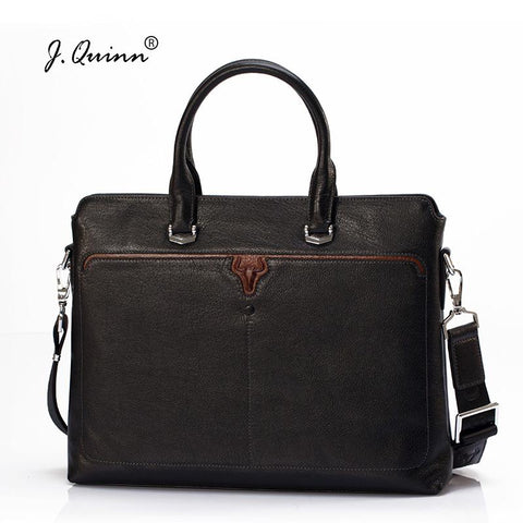 J.Quinn Mens Leather Briefcases Office Genuine Leather Bag Men Briefcase Business Handbag Male Casual Laptop Ipad Shoulder Bags