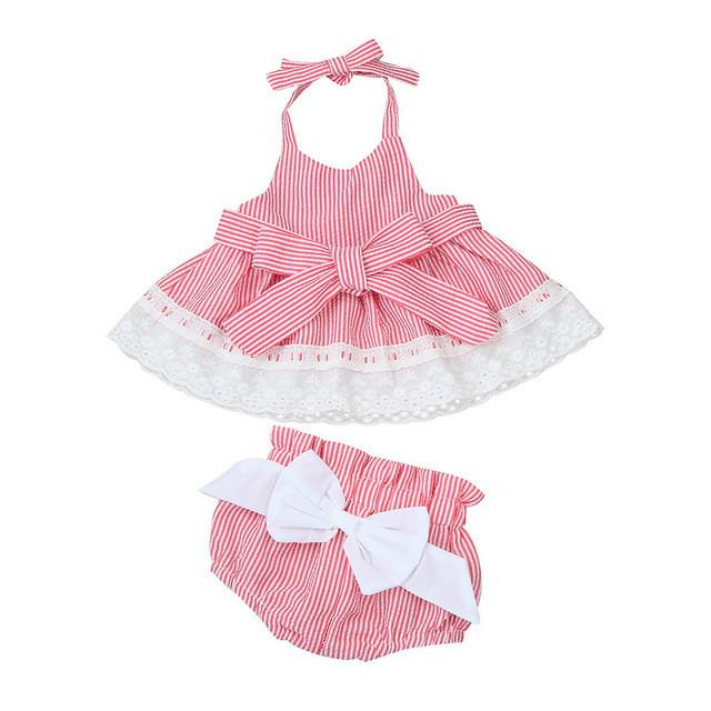 2017 Summer Casual Newborn Infant Baby Girls Bowknot T-Shirt+Shorts+Headband Clothes Outfits Set - EM