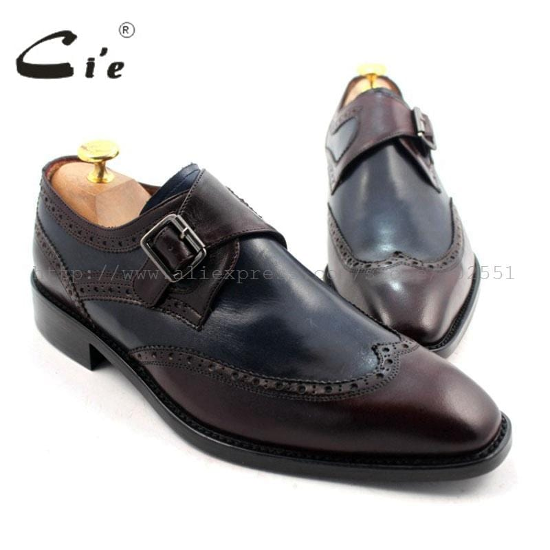 cie Free Shipping W-tips Bespoke Handmade Pure Genuine Calf Leather Men's Single Monk Straps Deep Wine/Navy Matching No.MS33